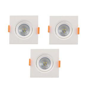 Kit Spot LED de Embutir Vitralux 3W 6500K Quadrado Bivolt 3 Peças
