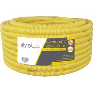 Eletroduto Corrugado PVC Vitralux Flex 25mm 50m Amarelo