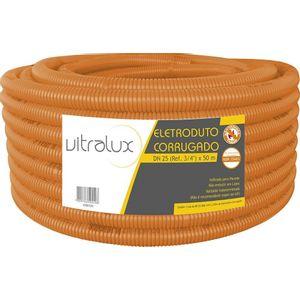 Eletroduto Corrugado Reforçado PVC Vitralux Flex 25mm 50m Laranja