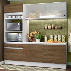Cozinha Compacta Madesa Topazio com Balcão e Tampo Branco/Rustic
