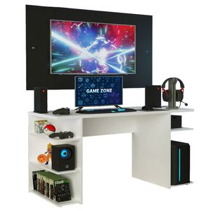 Mesa Gamer Madesa 9409 e Painel para TV até 58 Polegadas Branco/Preto