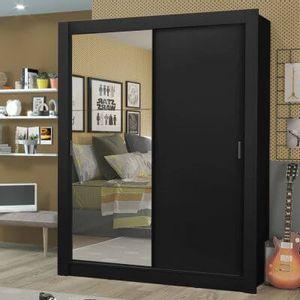 Guarda-Roupa Solteiro Madesa Dallas Plus 2 Portas de Correr com Espelho 4 Gavetas Preto