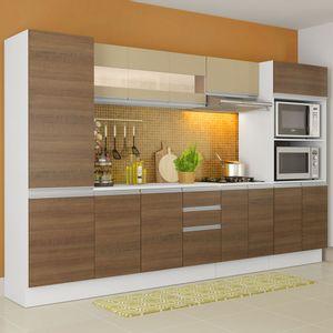 Cozinha Completa 100% MDF Madesa Smart 300 cm Modulada Com Armário, Balcão e Tampo Branco/Rustic/Crema