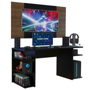 Mesa Gamer Madesa 9409 e Painel para TV até 58 Polegadas Preto/Rustic