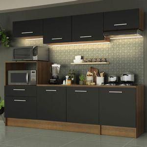 Cozinha Completa Madesa Onix 240001 com Armário e Balcão Rustic/Preto