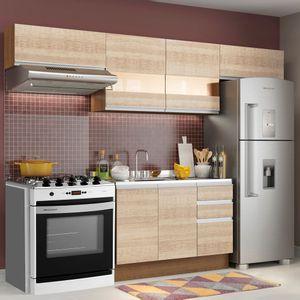 Cozinha Compacta Madesa Marina Com Armário e Balcão (Sem Tampo e Pia) Rustic/Saara