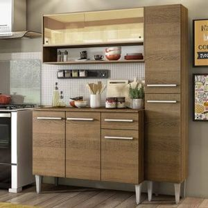 Cozinha Compacta Madesa Emilly Art com Balcão e Armário Vidro Reflex Rustic