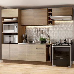 Cozinha Completa Madesa Stella 290002 com Armário e Balcão Rustic/Saara