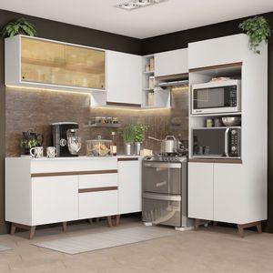 Cozinha Completa de Canto Madesa Reims 402002 com Armário e Balcão Branco