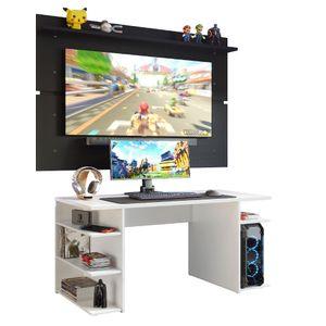 Mesa Gamer Madesa 9409 e Painel para TV até 65 Polegadas Branco/Preto