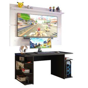 Mesa Gamer Madesa 9409 e Painel para TV até 65 Polegadas Preto/Branco