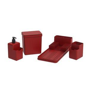 Kit Organizador de Cozinha Coza Vermelho 4 Peças