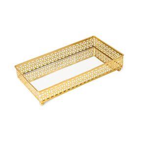 Bandeja Decorativa Mart Collection com Espelho 23,5x12,5cm Dourado