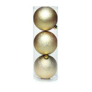 Kit Bolas de Natal Cromus 8cm Dourado 3 Peças