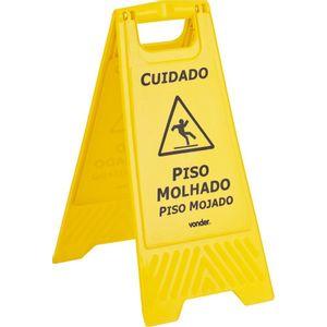 Cavalete de Plástico para Sinalização Piso Molhado Vonder Amarelo