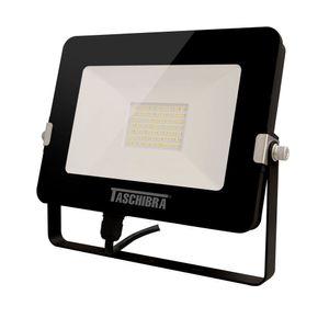Refletor LED Taschribra TR Led Slim Luz Amarela 30W 3000k Preto Bivolt