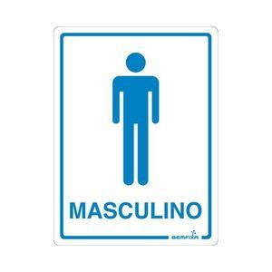 Placa Sinalizadora Banheiro Masculino Autoadesiva 20x15cm Bemfixa