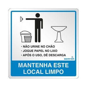 Placa Sinalizadora Instruções Banheiro Masculino Autoadesiva 15x15cm Bemfixa