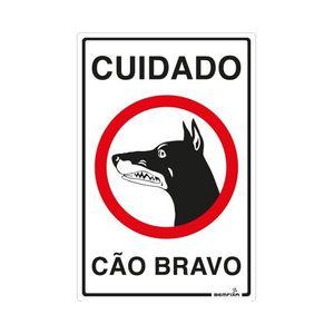 Placa Sinalizadora Cuidado Cão Bravo Autoadesiva 30x20cm Bemfixa