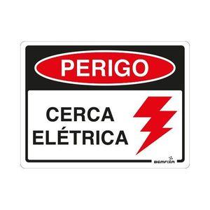 Placa Sinalizadora Perigo Cerca Elétrica Autoadesiva 15x20cm Bemfixa