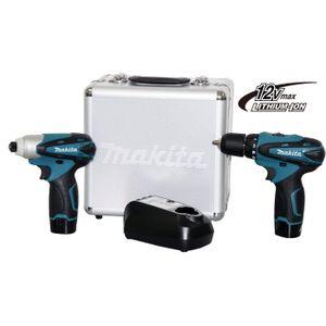 Kit Furadeira Parafusadeira Bateria 12V Makita LCT204 Profissional Bivolt com Maleta