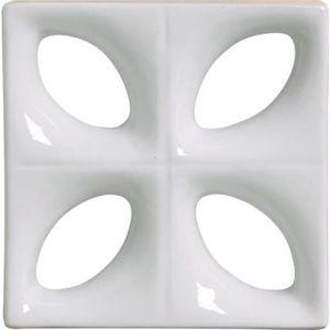 Tijolo de Louça 24x24x8cm Vazado Folha Branco Cerâmica Martins