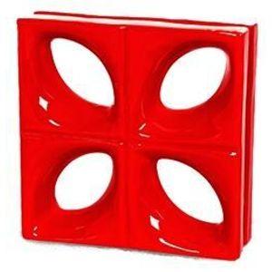 Tijolo de Louça 24x24x8cm Vazado Folha Vermelho Cerâmica Martins