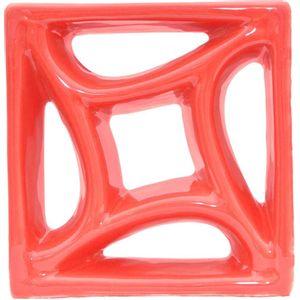 Tijolo de Louça 18x18x8cm Vazado Estrela Vermelho Cerâmica Martins