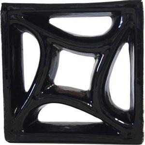 Tijolo de Louça 18x18x8cm Vazado Estrela Preto Cerâmica Martins
