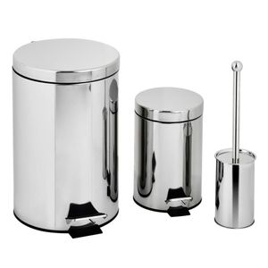 Kit Lixeira Inox Pedal Casa&Ideia 3L/12L e Escova Sanitária