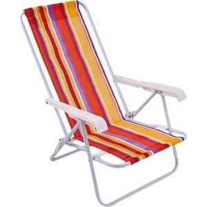 Cadeira de Praia Mor 8 Posições Aço Cores Sortidas
