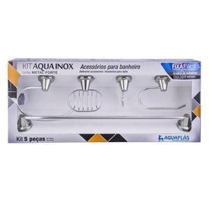 Kit de Acessórios para Banheiro Stamplas Aqua 5 Peças Inox