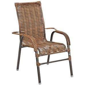 Cadeira Fascino Bela Rattan com Braços Tabaco
