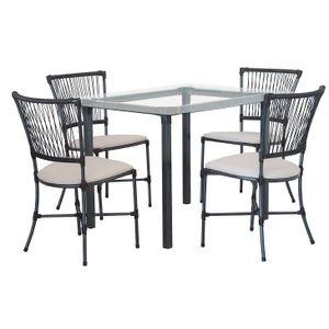 Conjunto Mesa e Cadeiras 5 Peças Fascino Trama