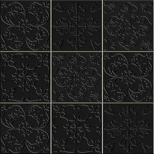 Faixa Decorativa Sofistiq 20,5x20,5cm Art Floral Acetinado Preto