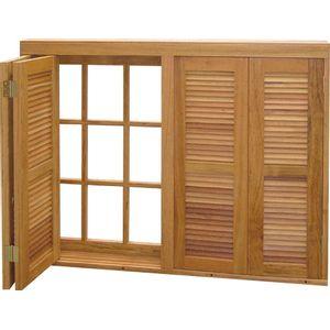Janela Veneziana Pantográfica Madeira Angelim Madecen 120x120cm 4 Folhas para Vidro Quadriculado