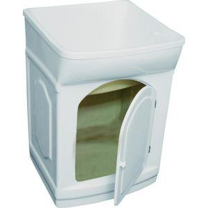 Tanque com Gabinete de Fibra 25L Simples Hidrofama Branco