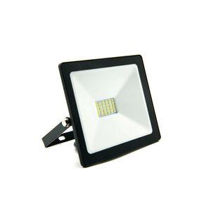 Refletor LED Ecoforce Compacto Luz Branca 20W 6500K Preto Autovolt