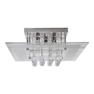 Plafon Vidro Vitralux 5 Lâmpadas G9 40cm Quadrado Branco