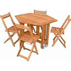 Conjunto Mesa/Aparador e Cadeiras 5 Peças Metalnew Acácia