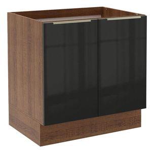 Balcão Madesa Lux 80 cm 2 Portas Rustic/Preto