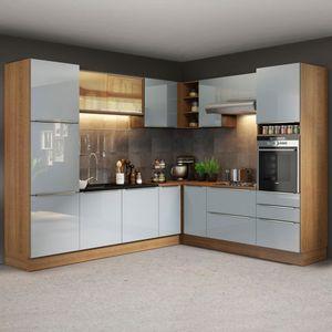 Cozinha Completa de Canto Madesa Lux 526001 com Armário e Balcão Rustic/Cinza