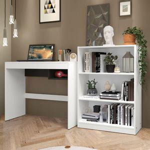 Escrivaninha Madesa Rubi + Estante Livreiro 6907 Branco