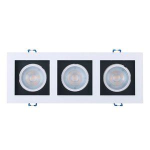 Spot LED de Embutir Taschibra 3 Lâmpadas Frame Recuado 15W 6500K Preto/Branco