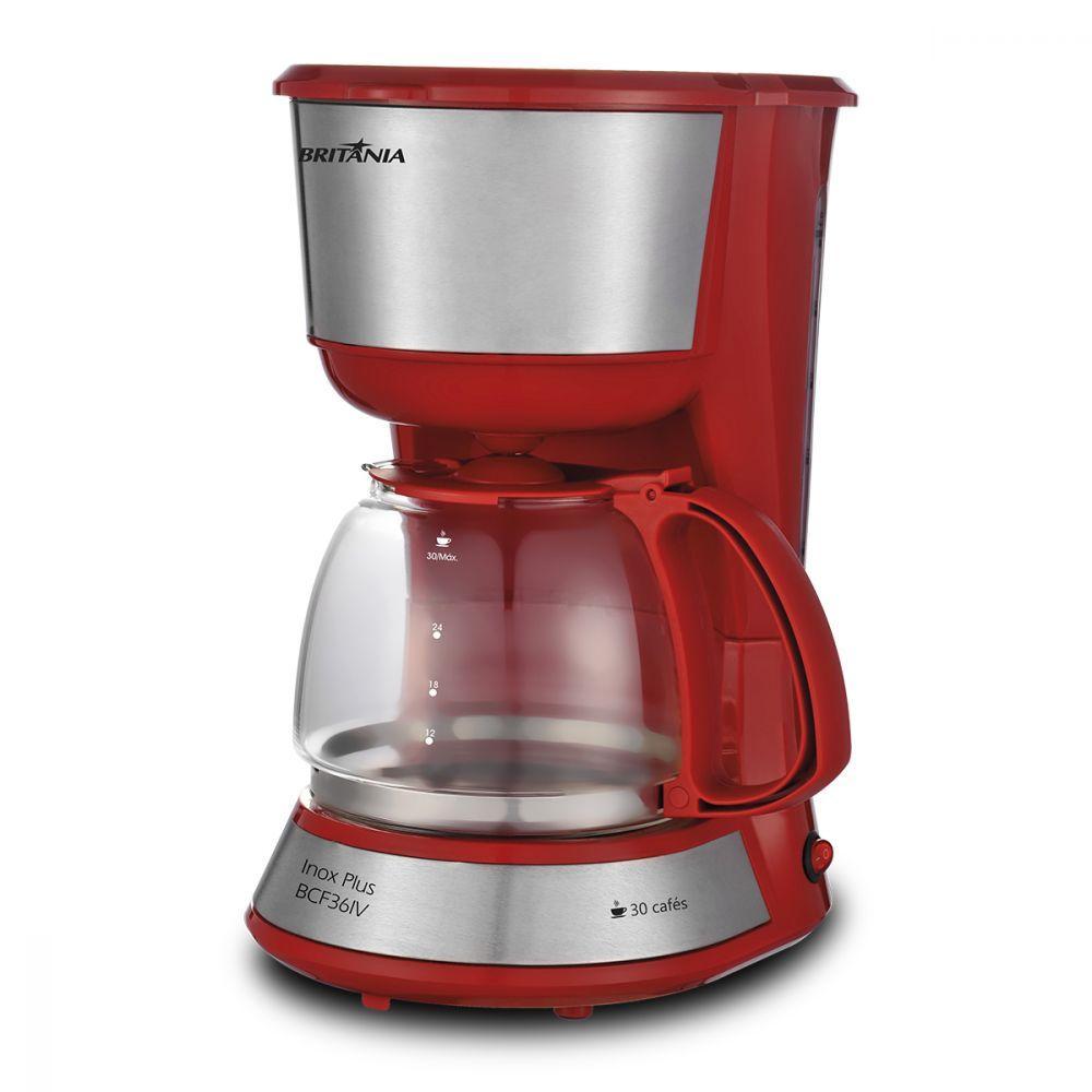 Cafeteira Elétrica Britania Inox Plus Vermelho 110v - Bcf36iv