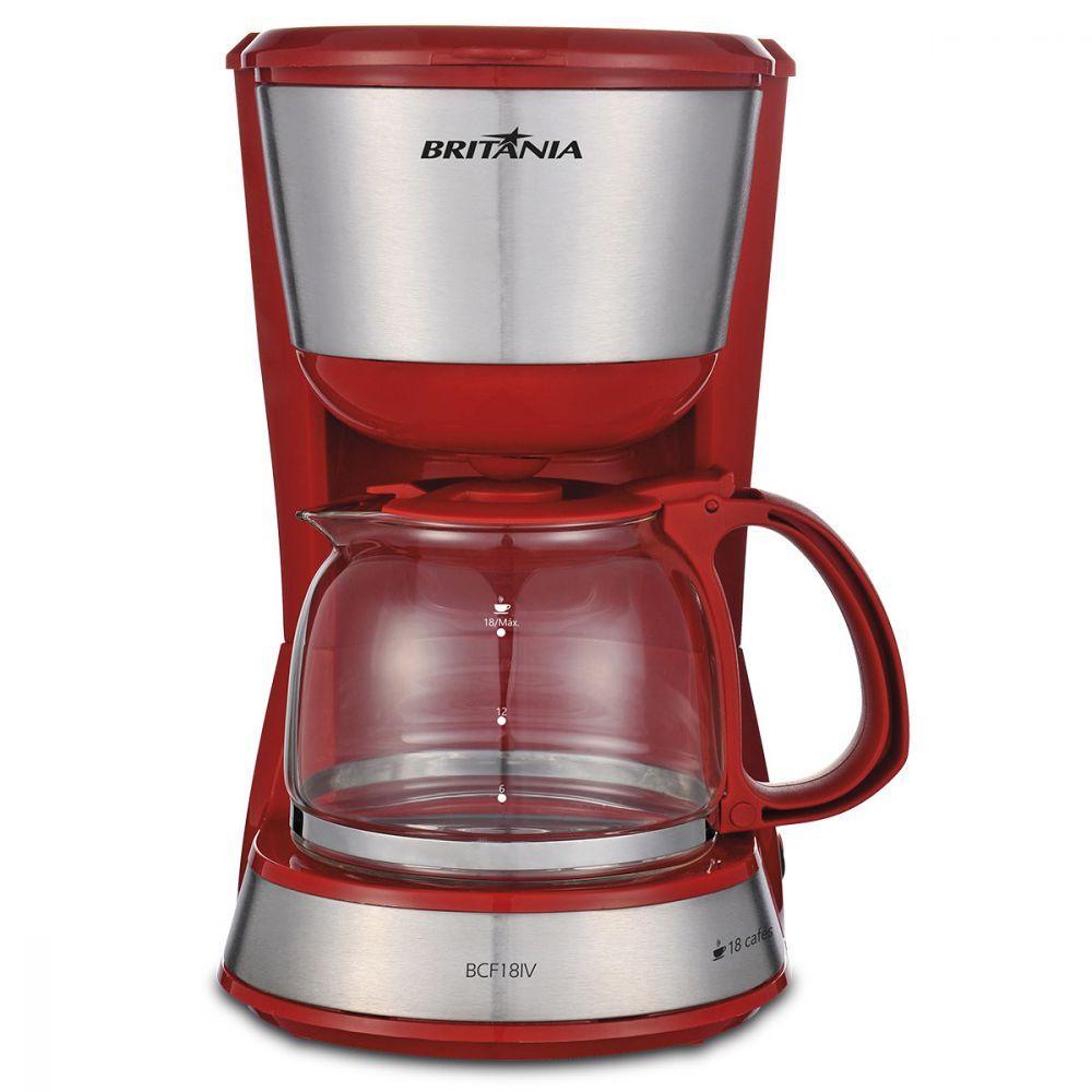 Cafeteira Elétrica Britania Inox Plus Vermelho 110v - Bcf18iv